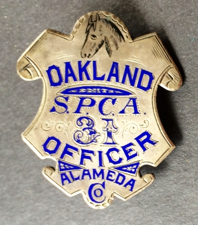 Alameda Co. Oakland SPCA Officer, #31, sterling silver, hand engraved. Hallmarked Morton Jeweler Co. Oakland, CA. Geo. Fake was now working for Morton and you can see his signature enameled engraving.