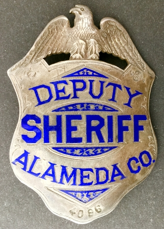 Alameda Co. Deputy Sheriff, sterling silver, hand engraved. Made by Oakland Jeweler and watchmaker Geo. Fake.