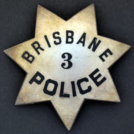 Brisbane #3 Police.  Badge is made by Irvine & Jachens and is dated on the reverse 8-9-48 and has the Jewelers Union stamp No. 64.