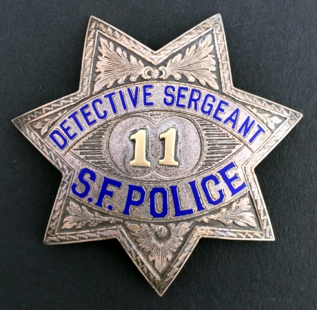 Detective Sergeant badge worn by George P. Wafer.