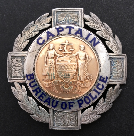 Philadelphia Police Captain badge made of sterling silver.