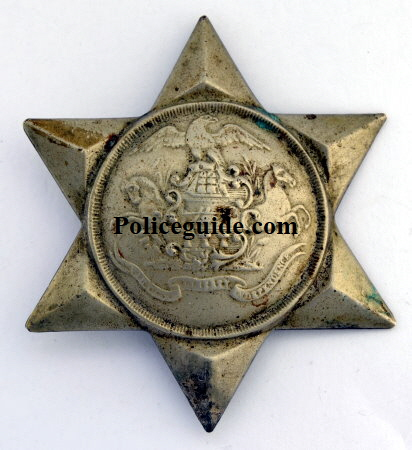 2nd issue Philadelphia Police badge, issue date January 10, 1851 made of while metal for the rank of Sergeant