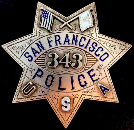 14k gold San Francisco Police presentation badge #343: Presented to Franklin K. Lane / By Fellow Members of Co. A. S.F.P.D. / July 1, 1919.