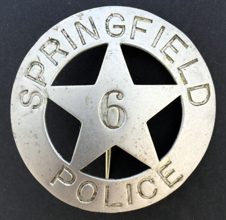 Springfield Oregon Police badge #6.  Hallmarked PC Stamp Wrks. Portland.